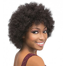 Synthetic Wig Curly Afro Layered Haircut Wig Short Black Synthetic Hair 10 inch Women's Classic Cool Black