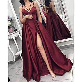 A-Line Minimalist Sexy Wedding Guest Formal Evening Dress V Neck Sleeveless Floor Length Satin with Split 2020