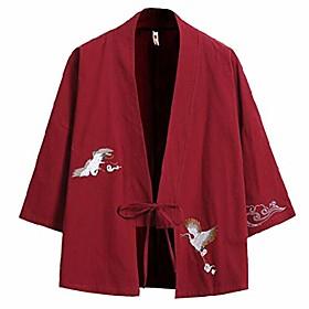 men's cotton blends linen open front cardigan kimono jackets qt4018-m712-p40-wi-us l(42)