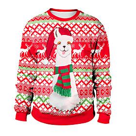 Women's Daily Pullover Sweatshirt Print Color Block Rainbow Active Christmas Hoodies Sweatshirts  Loose Rainbow