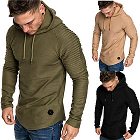 Men's Hoodie Sweatshirt Running Shirt Street Athleisure Long Sleeve Winter Cotton Thermal Warm Breathable Soft Running Jogging Training Sportswear Solid Colore