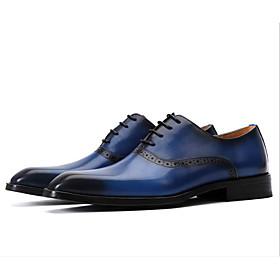 Men's Oxfords Business / British Wedding Office  Career Leather Breathable Wear Proof Black / Blue Spring / Summer