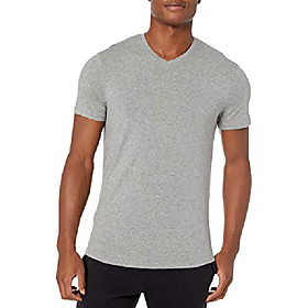 amazon brand - men's pima cotton modal v-neck t-shirt, light grey heather, x-large