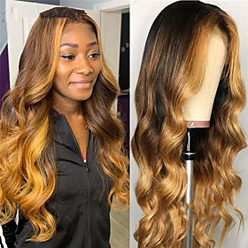Synthetic Wig Body Wave Middle Part Wig Long Very Long Light golden Synthetic Hair 65 inch Women's Party Highlighted / Balayage Hair Middle Part Blonde