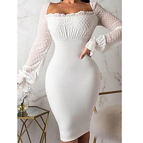 Women's Sheath Dress Midi Dress - Long Sleeve Solid Color Backless Spring Sexy Going out Slim 2020 White Black S M L XL XXL