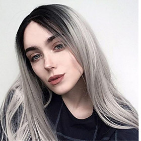 Synthetic Wig Natural Straight Middle Part Wig Long Grey Synthetic Hair Women's Ombre Hair Middle Part Dark Gray