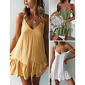 Women's Strap Dress Short Mini Dress - Sleeveless Solid Color Backless Summer V Neck Casual Sexy Going out Cotton Slim 2020 White Yellow Green S M L XL