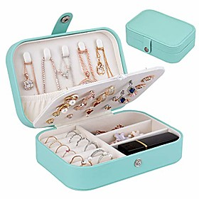 travel jewelry organiser cases, jewelry storage box for necklace, earrings, rings, bracelet (box-light blue)