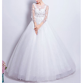 Ball Gown Wedding Dresses Jewel Neck Floor Length Tulle 3/4 Length Sleeve Romantic Elegant Illusion Sleeve with Beading Appliques 2020