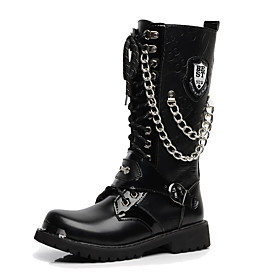 Men's Boots Work Boots Casual Daily PU Knee High Boots Black Fall