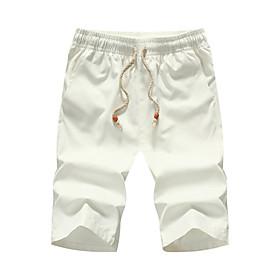 Men's Causal Holiday Cotton Sweatpants Pants Solid Color White Black Red M L XL / Slim