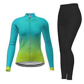 21Grams Women's Long Sleeve Cycling Jersey with Tights Winter Polyester Green Gradient Bike Jersey Tights Clothing Suit Breathable Quick Dry Moisture Wicking B