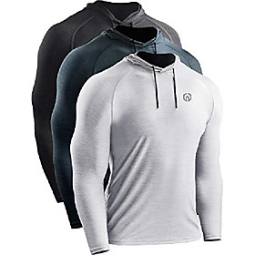 men's 3 pack dry fit running shirt long sleeve workout athletic shirts with hoods,5071 dark grey,light grey,slate grey,us s,eu m