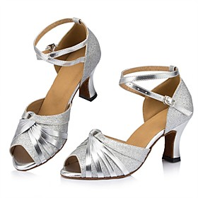 Women's Latin Shoes Heel Thick Heel Glitter Gold / Silver