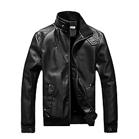 men's british style stand-collar zipper long sleeve coat jacket large black