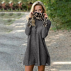 Women's Sheath Dress Short Mini Dress - Long Sleeve Solid Color Fall Halter Neck Sexy Loose 2020 Gray S M L XL