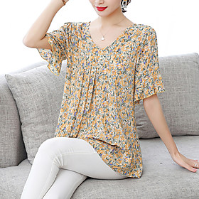 Women's Going out Plus Size Blouse Shirt Floral Flower Print Flowing tunic V Neck Tops Loose Chiffon Basic Streetwear Basic Top Blue Purple Yellow
