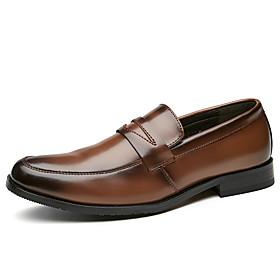 Men's Loafers  Slip-Ons Business Daily Cowhide Waterproof Shock Absorbing Wear Proof Black / Brown Fall