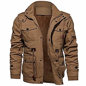 men's jacket casual cotton military jacket men outerwear fleece hooded winter coat with multi pockets khaki xxl