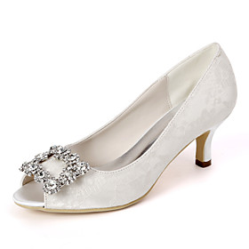 Women's Wedding Shoes Kitten Heel Peep Toe Classic Wedding Party  Evening Rhinestone Floral Lace White / Light Purple / Ivory
