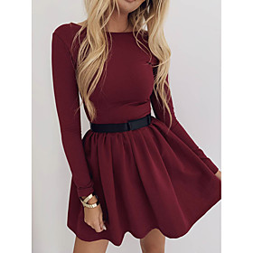 Women's A-Line Dress Short Mini Dress - Long Sleeve Solid Color Ruched Summer Casual 2020 Black Blue Wine S M L XL