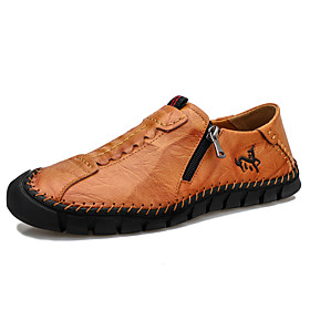 Men's Loafers  Slip-Ons Casual Daily Outdoor Walking Shoes Leather Handmade Wear Proof Light Brown / Black Spring / Fall