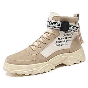 Men's Boots Casual Outdoor PU Breathable Warm Black / Khaki / Gray Fall / Winter