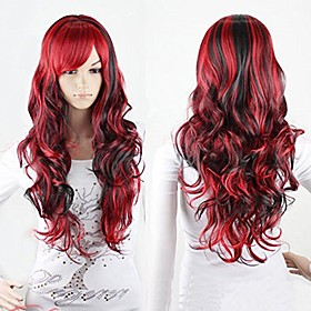 anime cosplay wigs red and black for women long curly hair wigs lolita style wigs (redblack)