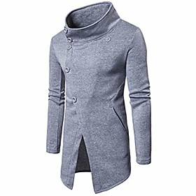 men's trench coat winter pullover long jacket button overcoat (tag xxl= us xl, gray)