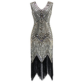 Women's Sheath Dress Knee Length Dress - Sleeveless Solid Color Lace Tassel Fringe Summer Sexy Skinny 2020 Red Wine Army Green Light Brown Royal Blue Silver S