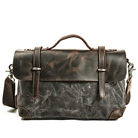 Men's Bags PU Leather Briefcase / Top Handle Bag Zipper for Office  Career Blushing Pink / Army Green / Khaki / Dark Gray