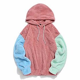 Men's Hoodie Color Block Hoodies Sweatshirts  Black Blue Blushing Pink