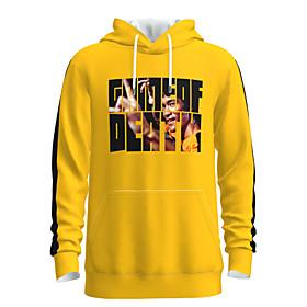 Men's Weekend Pullover Hoodie Sweatshirt Graphic Chinese Style Portrait Hooded Casual Streetwear Hoodies Sweatshirts  Long Sleeve Yellow