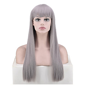 Synthetic Wig 26 Straight kinky Straight With Bangs Wig Long Silver grey Synthetic Hair Women's Fashionable Design Soft Party Gray