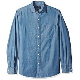 buttoned down men's classic fit indigo denim cotton sport shirt, medium blue, x-large