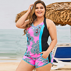 Women's Plus Size Floral Style Bikini Swimsuit Criss Cross Print Color Block V Wire Swimwear Bathing Suits Green / Padded Bras