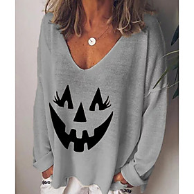 Women's Halloween T-shirt Graphic Prints Pumpkin Long Sleeve Print V Neck Tops Basic Basic Top White Black Blue