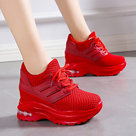 Women's Trainers / Athletic Shoes Hidden Heel Round Toe Casual Daily Outdoor Tissage Volant Black / Red