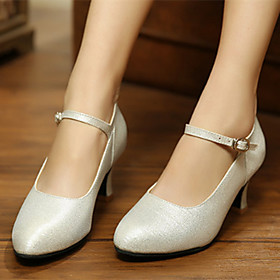 Women's Modern Shoes Heel Thick Heel Patent Leather Gold / Silver