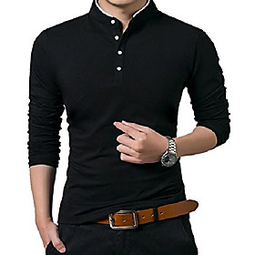 butamp; #39;s casual slim fit long sleeve polo cotton shirts medium black