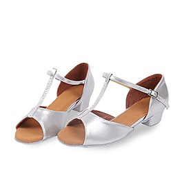 Women's Latin Shoes Heel Thick Heel PU Leather Silver