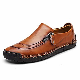 men's driving loafers walking leather handmade lightweight casual flats breathable slip on shoes light brown 10.5 d(m) us 45