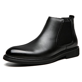 Men's Boots British Office  Career Walking Shoes Faux Leather Non-slipping Booties / Ankle Boots Black Fall
