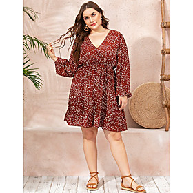 Women's A-Line Dress Knee Length Dress - Long Sleeve Print Ruched Patchwork Print Summer V Neck Casual Going out Cotton Slim 2020 Red L XL XXL 3XL 4XL
