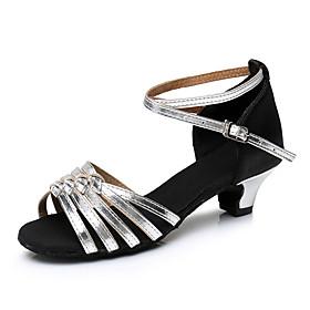 Women's Latin Shoes Heel Cuban Heel Satin Silver / Black / Black / Gold / Black / Red