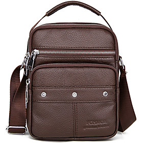 Men's Bags Cowhide Crossbody Bag Zipper for Daily / Holiday Black / Brown