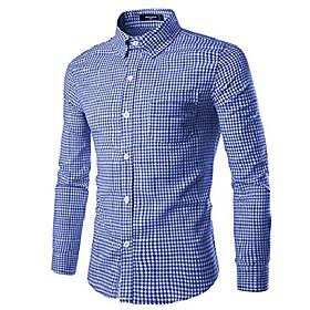 men plaid cotton casual slim fit long sleeve button down dress shirts royal blue 3xl