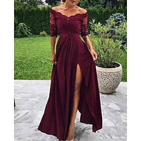 A-Line Minimalist Sexy Wedding Guest Formal Evening Dress Off Shoulder Half Sleeve Floor Length Charmeuse with Pleats Split Appliques 2020
