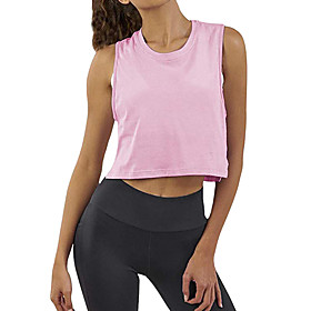 Women's Tank Top Solid Color Plain Round Neck Tops Cotton Casual Basic Top White Black Pink