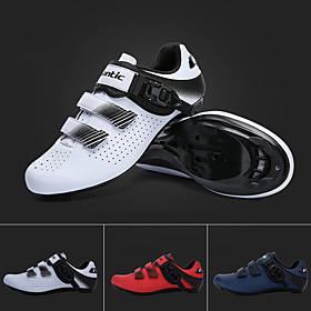 SANTIC Adults' Sneakers Bike Shoes Nylon Breathable Anti-Slip Cushioning Road Cycling Cycling / Bike Recreational Cycling White Red Dark Navy Men's Women's Cyc